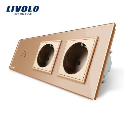 Intrerupator LIVOLO simplu cu touch si 2 prize din sticla culoare aurie
