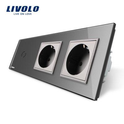 Intrerupator LIVOLO simplu cap scara / cap cruce cu touch si 2 prize din sticla culoare gri