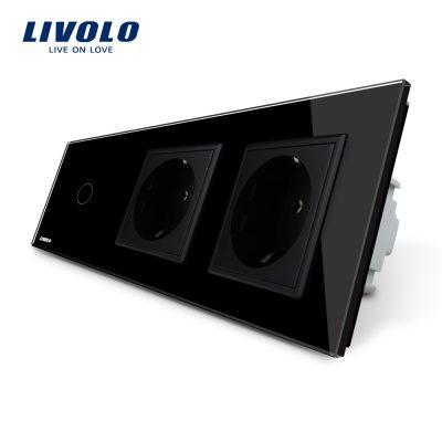 Intrerupator LIVOLO simplu cap scara / cap cruce cu touch si 2 prize din sticla culoare neagra
