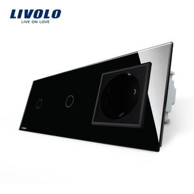 Intrerupator LIVOLO simplu+simplu cu touch si priza din sticla culoare neagra