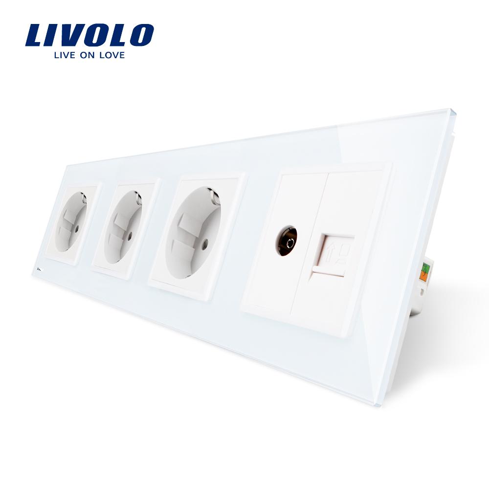 Priza cvadrupla Livolo cu rama din sticla 3 prize simple+TV/internet imagine case-smart.ro 2021