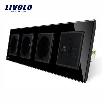 Priza cvadrupla Livolo cu rama din sticla 3 prize simple+TV/internet culoare neagra