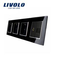 Priza cvadrupla Livolo cu rama din sticla 3 prize simple+TV/internet