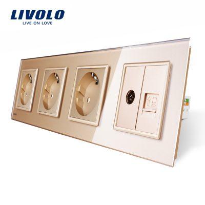 Priza cvadrupla Livolo cu rama din sticla 3 prize simple+TV/internet culoare aurie