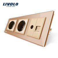 Priza tripla Livolo cu rama din sticla 2 prize simple+TV/internet culoare aurie