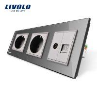 Priza tripla Livolo cu rama din sticla 2 prize simple+TV/internet culoare gri