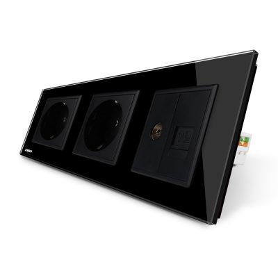 Priza tripla Livolo cu rama din sticla 2 prize simple+TV/internet culoare neagra