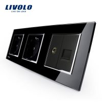 Priza tripla Livolo cu rama din sticla 2 prize simple+TV/internet