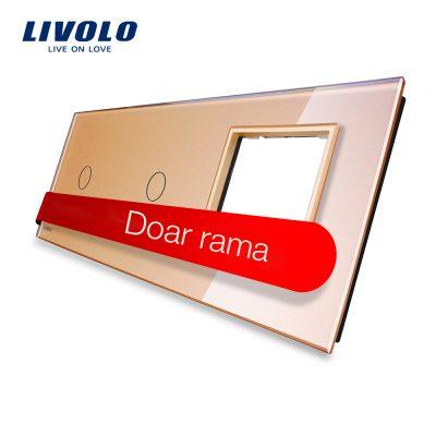 Panou 2 intrerupatoare simple cu touch si priza Livolo din sticla culoare aurie