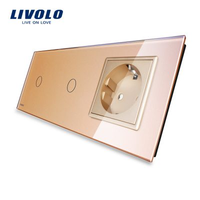 Intrerupator LIVOLO simplu+simplu cu touch si priza din sticla culoare aurie