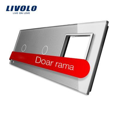 Panou 2 intrerupatoare simple cu touch si priza Livolo din sticla culoare gri