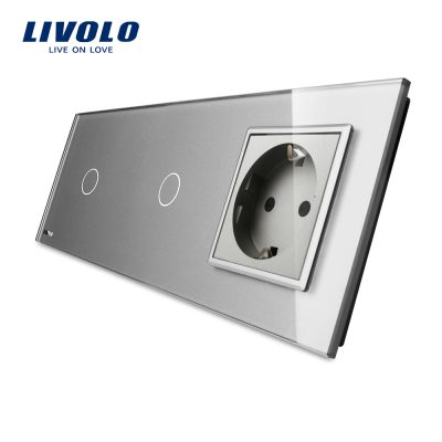 Intrerupator LIVOLO simplu+simplu cu touch si priza din sticla culoare gri
