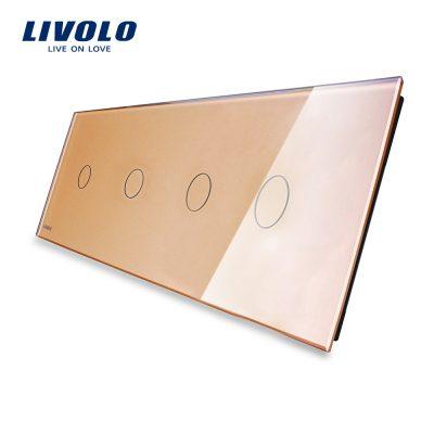 Panou 4 intrerupatoare simple cu touch Livolo din sticla culoare aurie