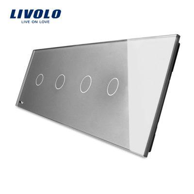 Panou 4 intrerupatoare simple cu touch Livolo din sticla culoare gri
