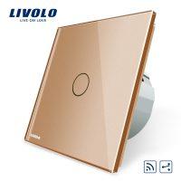 Intrerupator cap scara / cap cruce wireless cu touch Livolo din sticla culoare aurie