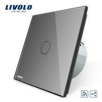 Intrerupator cap scara / cap cruce wireless cu touch Livolo din sticla culoare gri