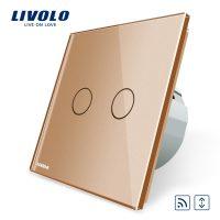 Intrerupator draperie wireless cu touch Livolo din sticla culoare aurie