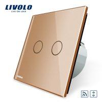 Intrerupator draperie wireless cu touch Livolo din sticla