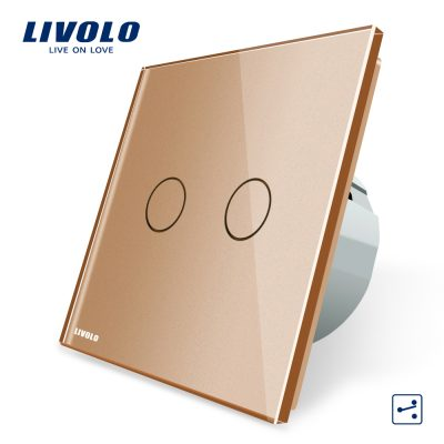 Intrerupator dublu cap scara / cap cruce cu touch Livolo din sticla culoare aurie