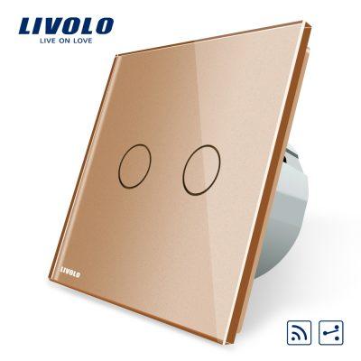 Intrerupator dublu cap scara / cap cruce wireless Livolo din sticla culoare aurie