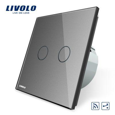 Intrerupator dublu cap scara / cap cruce wireless Livolo din sticla culoare gri
