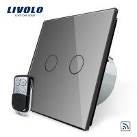 Intrerupator LIVOLO cu touch dublu wireless telecomanda inclusa