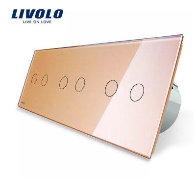 Intrerupator dublu+dublu+dublu cu touch Livolo din sticla culoare aurie