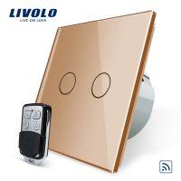 Intrerupator LIVOLO cu touch dublu wireless telecomanda inclusa culoare aurie