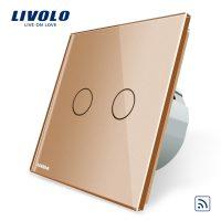 Intrerupator dublu wireless cu touch Livolo din sticla culoare aurie