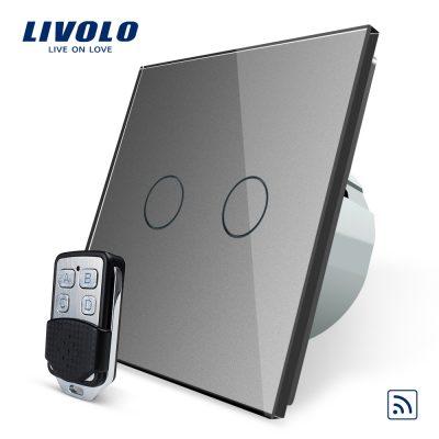Intrerupator LIVOLO cu touch dublu wireless telecomanda inclusa culoare gri
