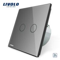Intrerupator dublu wireless cu touch Livolo din sticla culoare gri