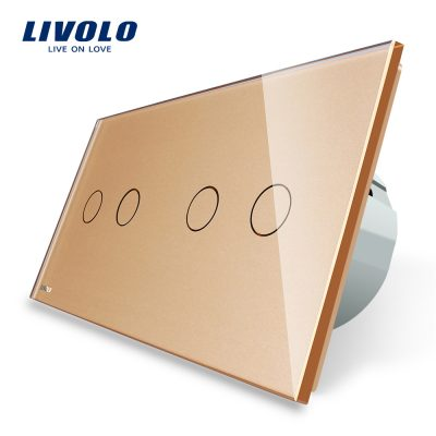 Intrerupator dublu + dublu cu touch Livolo din sticla culoare aurie