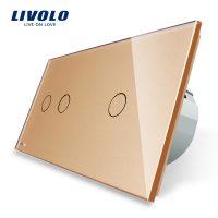 Intrerupator dublu + simplu cu touch Livolo din sticla culoare aurie