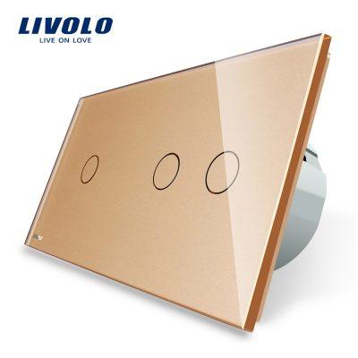 Intrerupator simplu + dublu cu touch Livolo din sticla culoare aurie