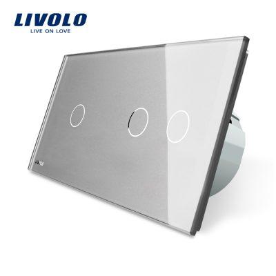 Intrerupator simplu + dublu cu touch Livolo din sticla culoare gri