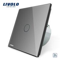 Intrerupator simplu wireless cu touch Livolo din sticla culoare gri