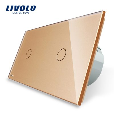 Intrerupator simplu + simplu cu touch Livolo din sticla culoare aurie