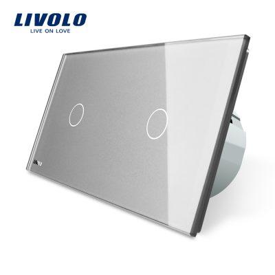 Intrerupator simplu + simplu cu touch Livolo din sticla culoare gri
