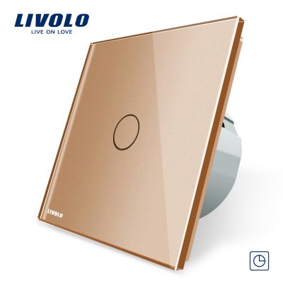 Intrerupator simplu cu timer si touch Livolo din sticla culoare aurie