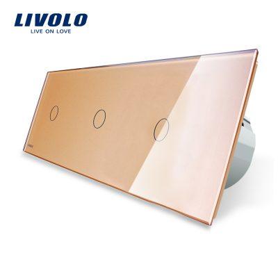 Intrerupator triplu cu touch Livolo din sticla culoare aurie