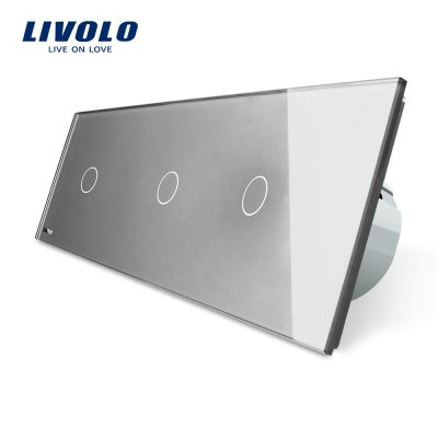 Intrerupator triplu cu touch Livolo din sticla culoare gri