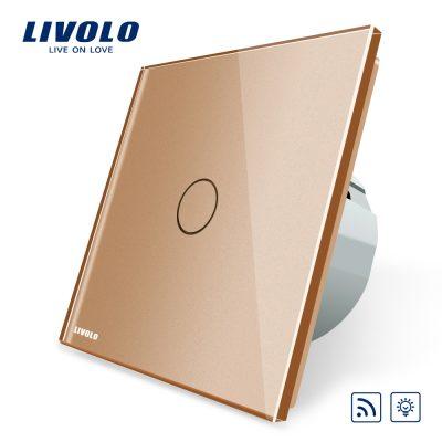 Intrerupator wireless cu variator cu touch Livolo din sticla culoare aurie