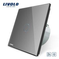 Intrerupator wireless cu variator cu touch Livolo din sticla culoare gri