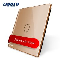 Panou intrerupator cu touch Livolo din sticla culoare aurie