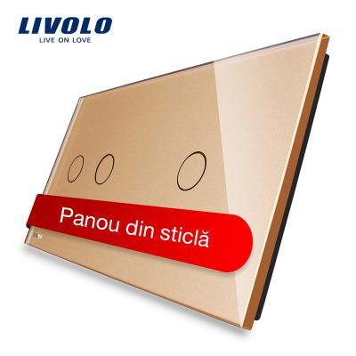 Panou intrerupator dublu + simplu cu touch Livolo din sticla culoare aurie