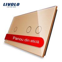 Panou intrerupator simplu+dublu cu touch Livolo din sticla culoare aurie