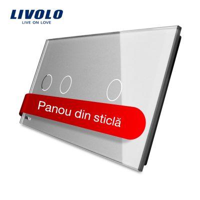 Panou intrerupator dublu + simplu cu touch Livolo din sticla culoare gri