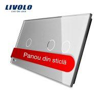 Panou intrerupator simplu+dublu cu touch Livolo din sticla culoare gri