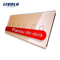 Panou intrerupator dublu+dublu+dublu cu touch Livolo din sticla culoare aurie