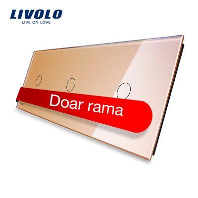 Panou intrerupator simplu+simplu+simplu cu touch Livolo din sticla culoare aurie